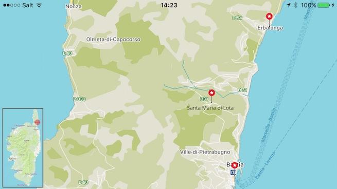 Campen auf Korsika Karte Erbalunga