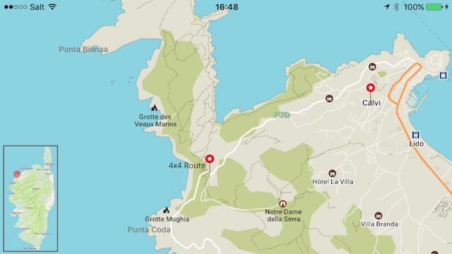 VW Bus auf Korsika Karte bei Calvi