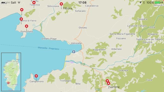 VW Bus auf Korsika Karte Sartène