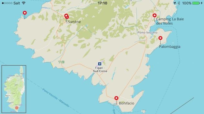 VW Bus auf Korsika Karte Porto Vecchio