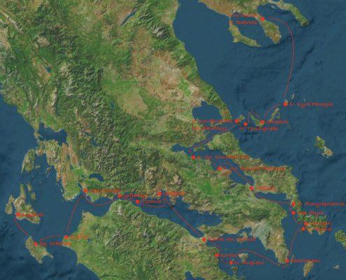 Karte Argostoli bis Vourvourou