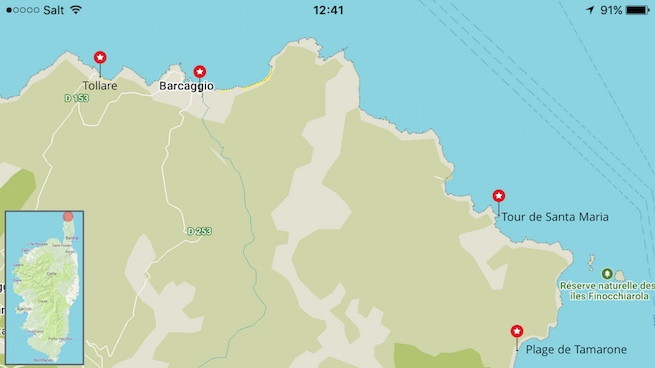 Campen auf Korsika Karte Plage de Tamarone