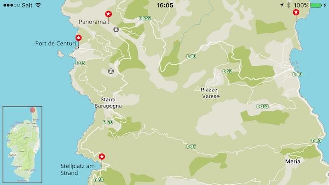 Campen auf Korsika Karte Cap Corse