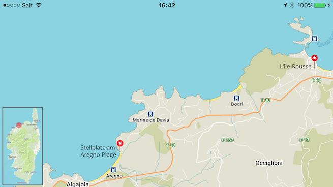 Campen auf Korsika Karte Aregno Plage
