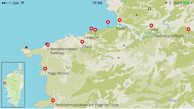 VW Bus auf Korsika Karte Spelunca