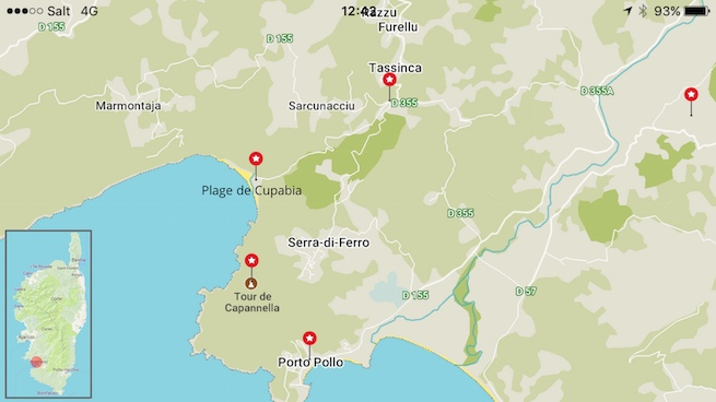 VW Bus auf Korsika Karte Cupabia